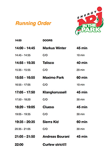 runningorder; Running Order; NRJ in the Park; Bourani; Zeitplan