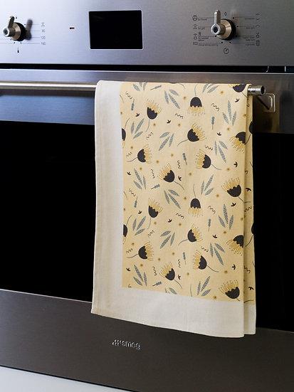 Funky Floral Cream Printed Tea Towel