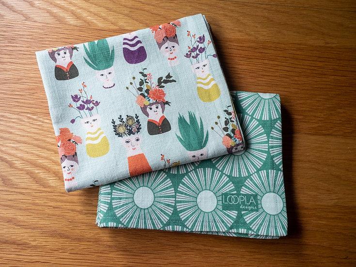 Planthood Bundle Handmade Tea Towel Set - Green
