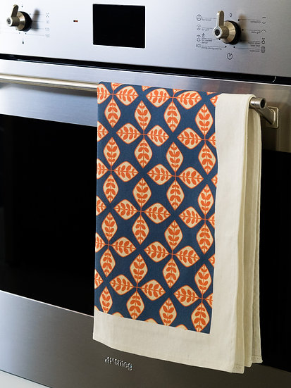 Orange Floral Geometric Printed Tea Towel