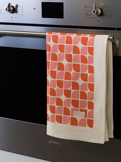 Sunset Retro Geo Printed Tea Towel