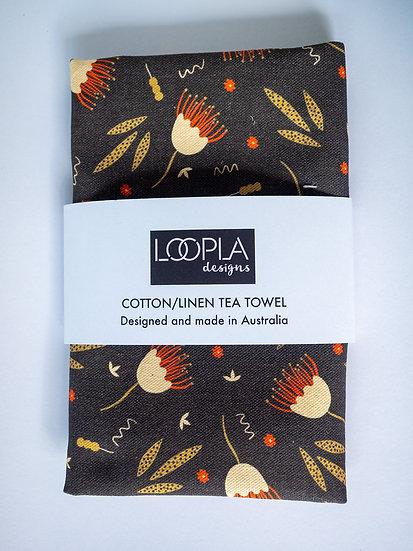 Funky Floral Brown Handmade Tea Towel