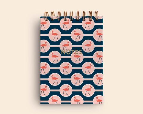 Flamingo Circles, notebook mockup
