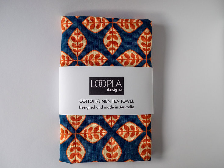 Orange Floral Geometric Tea Towel