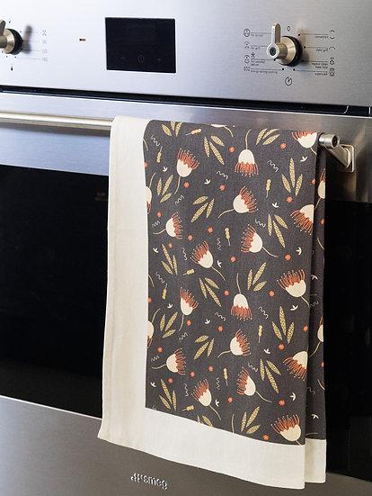 Funky Floral Brown Printed Tea Towel