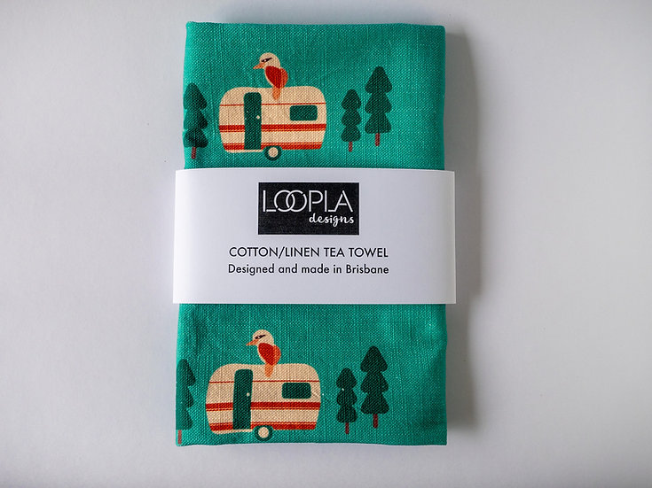 Weekend Camping Handmade Tea Towel