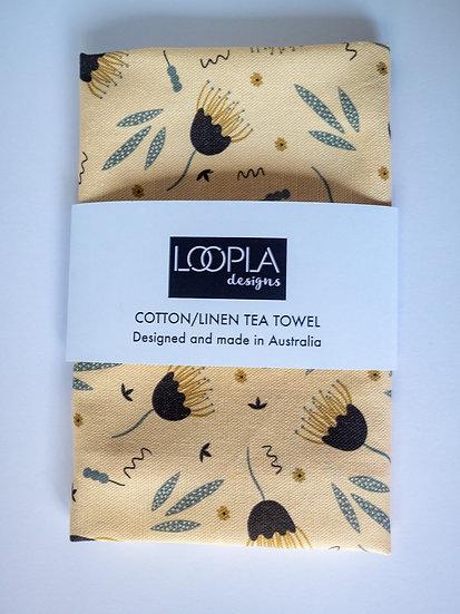 Funky Floral Cream Tea Towel