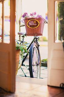 Bicicleta na frente do hotel Petit Casa da Montanha