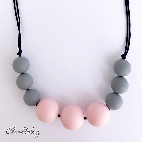 My Pink & Gray Teething Necklace