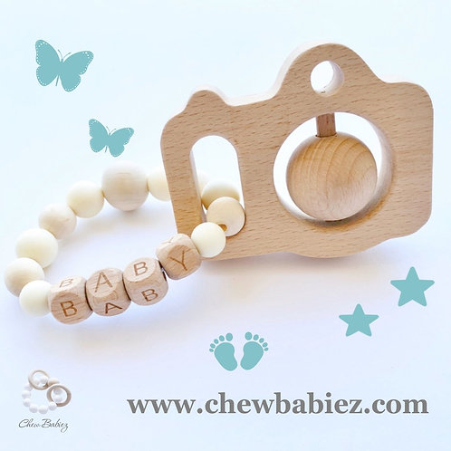 Wooden Camera Teething Rattle