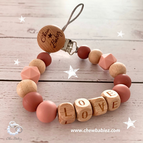Rose Dawn Wooden Paci Clip