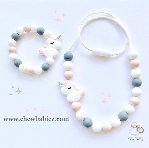 Baby Unicorn Bracelet and Necklace Set