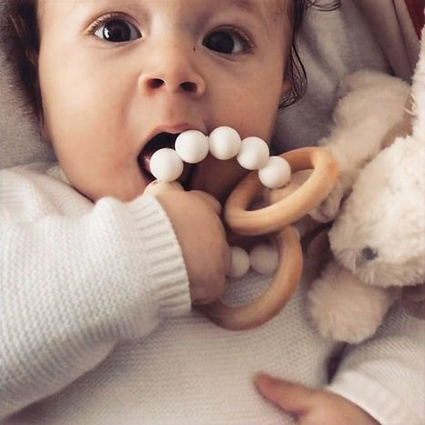 Montessori wooden and silicone teether