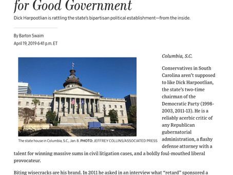 """WSJ: """"South Carolina's Unlikely Crusader for Good Government"""""""