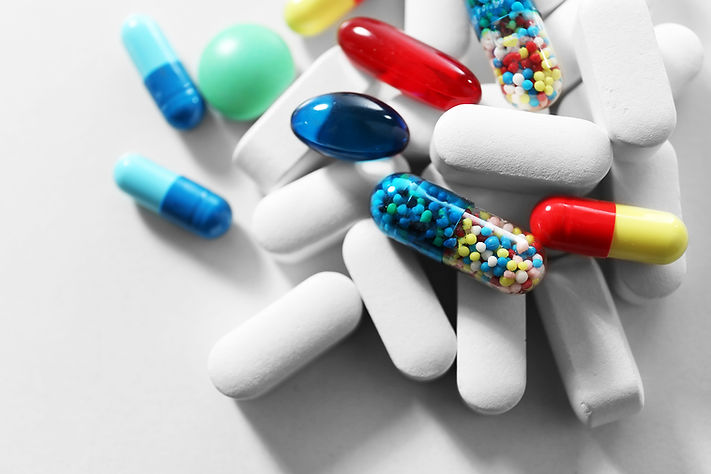 Vitamins and pills drugs in drinking water