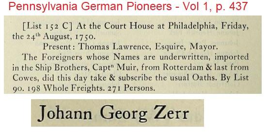 Johann Georg Zerr arrival in Pennsylvania