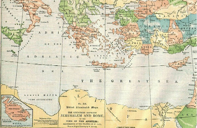 Map XII - THE COUNTRIES BETWEEN JERUSALEM AND ROME, IN THE TIME OF THE APOSTLES; ILLUSTRATIVE OF THE TRAVELS OF ST. PAUL