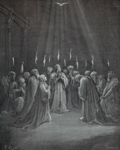 The Apostles speaking in tongues