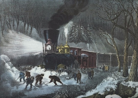 AMERICAN RAILWAY SCENE - SNOW BOUND