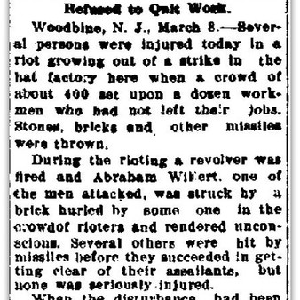 Riot at Woodbine, New Jersey 1909