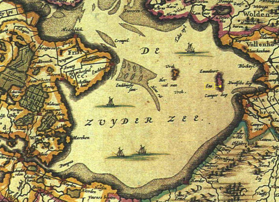"De Zuyder Zee in detail of ""Belgii foederati Nova descriptio Amstelodami apud Joh: Janssonium"". Map of The Netherlands 1658"