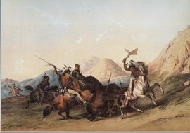 INDIANS ATTACKING THE GRIZZLY BEAR
