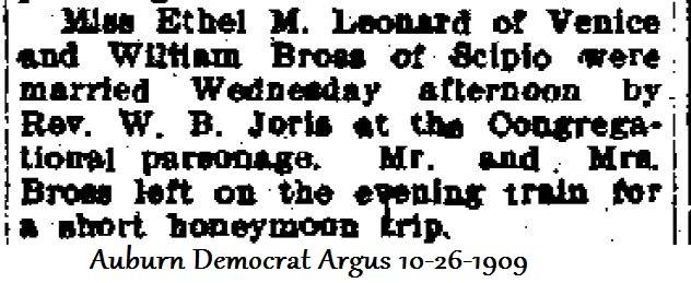 Ethel Leonard marries William Bross