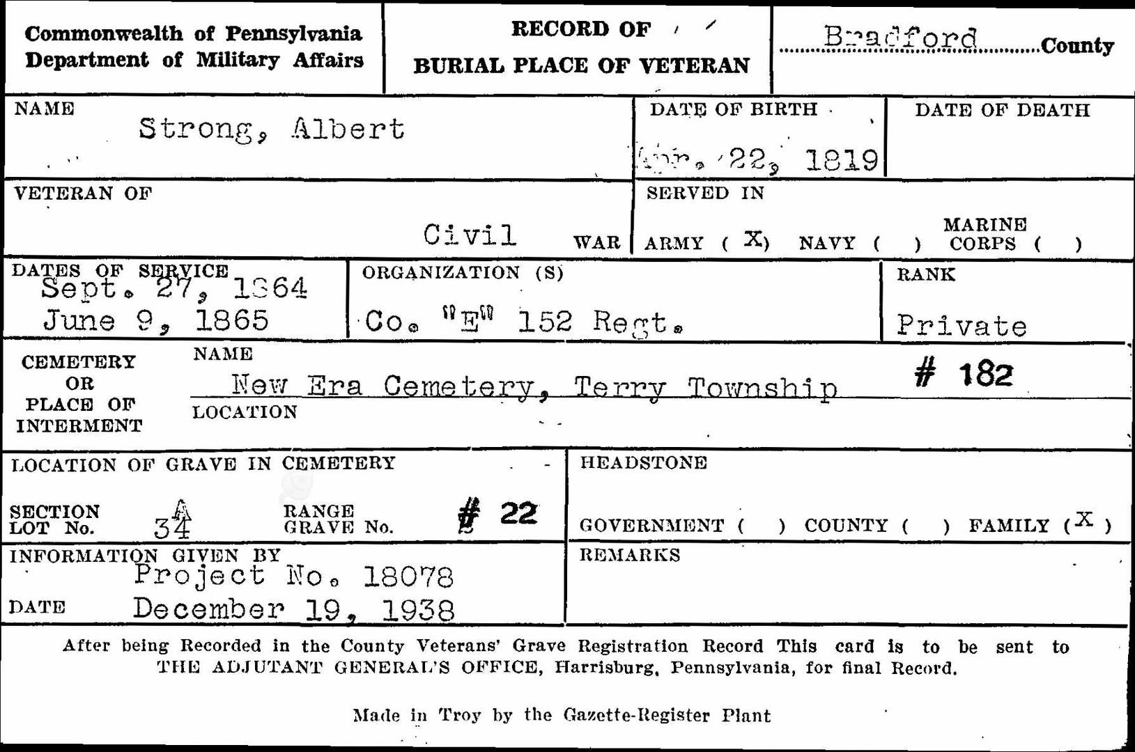 Albert Strong burial card