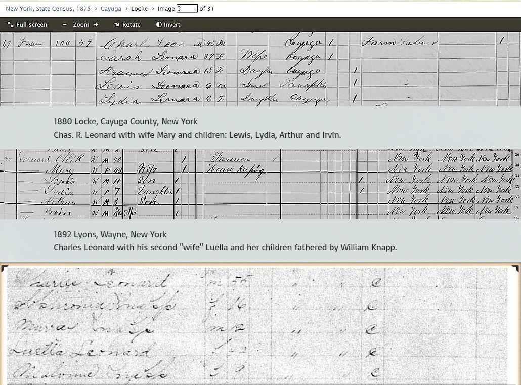 Charles R Leonard census timeline