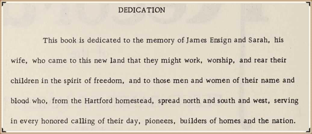 Dedication to the Descendants of James Ensign
