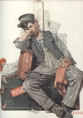 ASLEEP ON THE JOB (MAN)