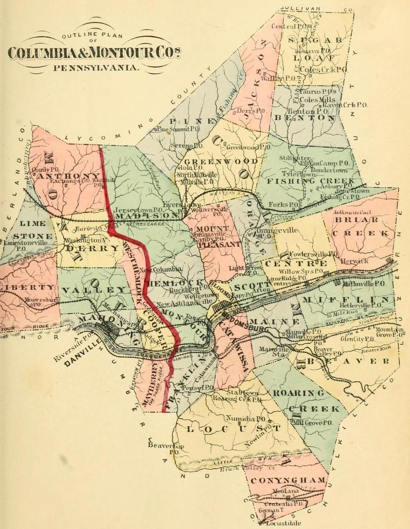Columbia and Montour Counties, Pennsylvania map
