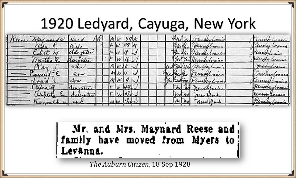 Ada and Maynard Reese on the census 1920 and 1925