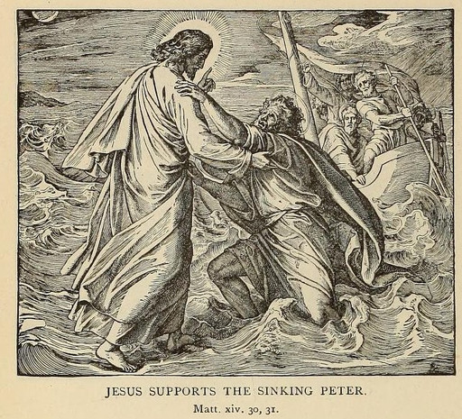 Jesus saves Peter from sinking