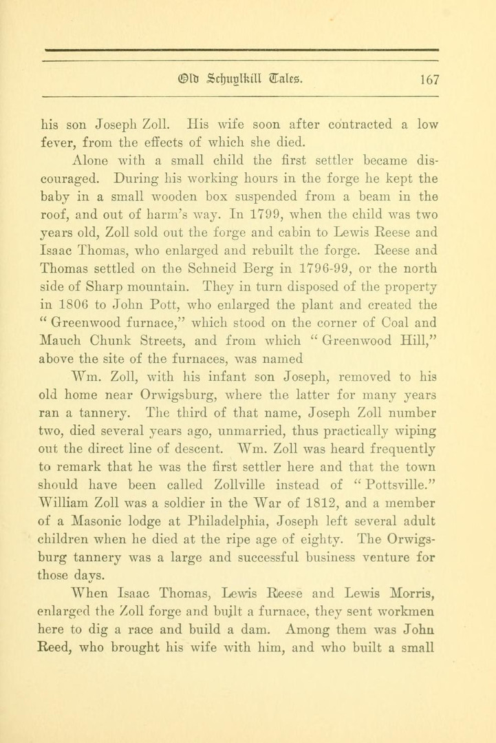 Lewis Reese, early settler of Pottsville, PA