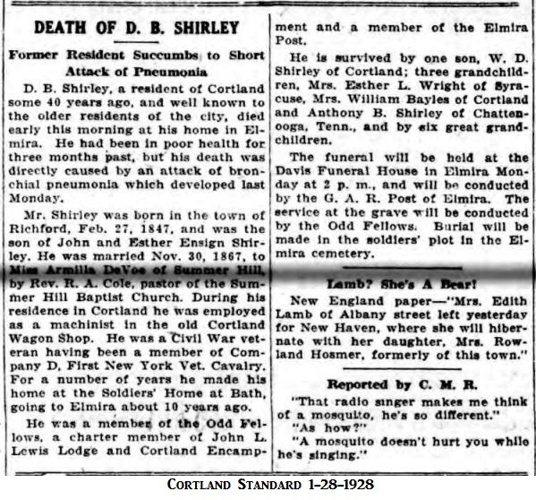 Death of D.B. Shirley, son of John and Esther Shirley