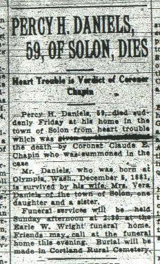 Percy H Daniels obituary