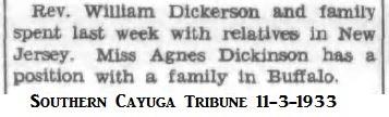 Agnes Dickinson to Buffalo 1933