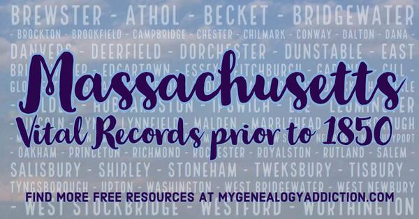 Massachusetts Vital Records to 1850