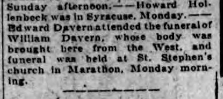 William Davern's funeral (husband of Rosanna McGinnis)