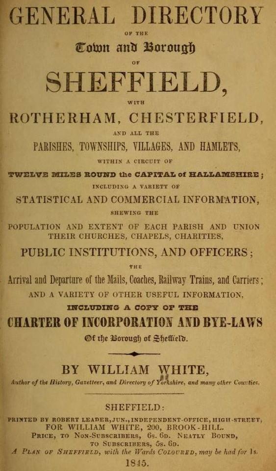 Dickinsons in Sheffield 1845