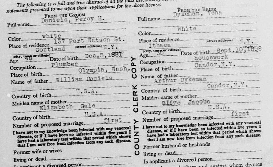 Percy H Daniels  and Vena Dykeman marriage certificate