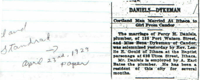 Percy H Daniels and Vena Dykeman marriage announcement