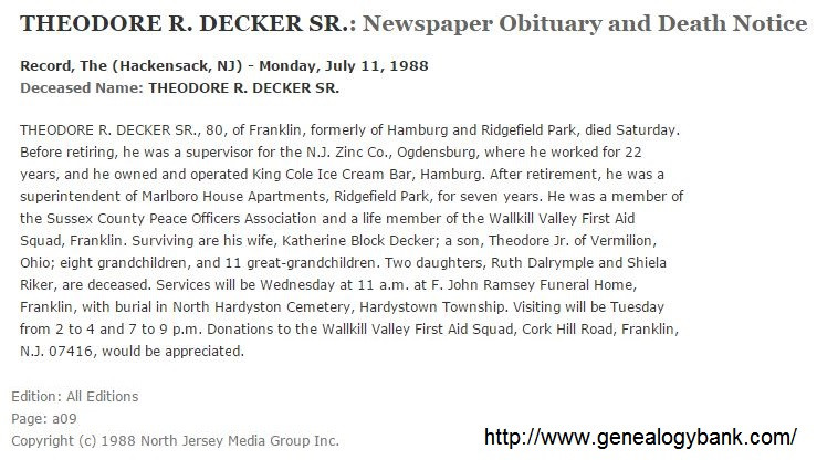 Theodore Decker obituary