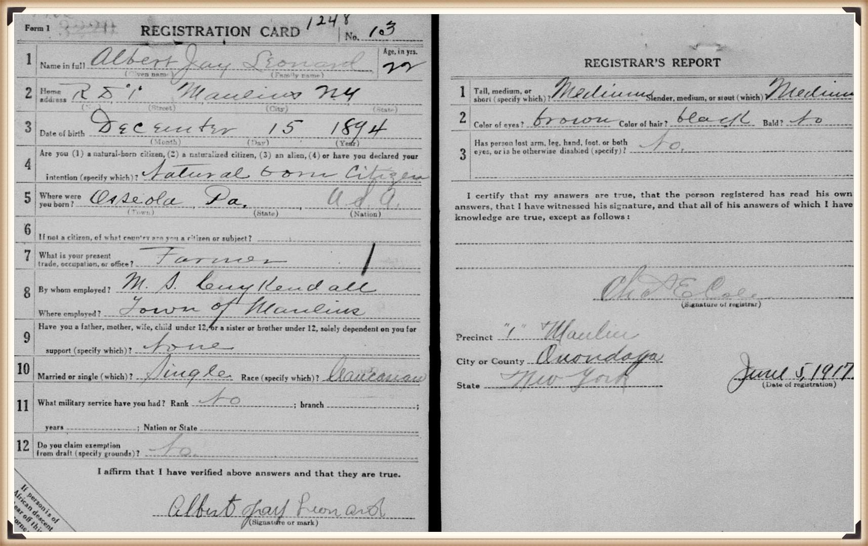 Albert J Leonard draft registration WWI