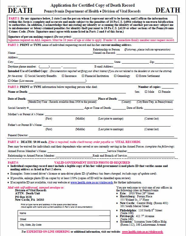 Application for a Certified Copy of a Death Record