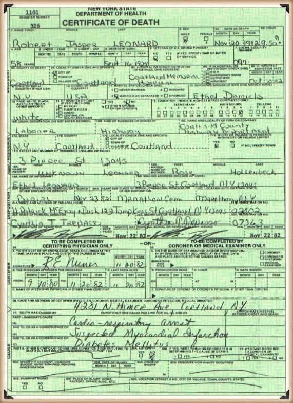 Robert Leonard death certificate