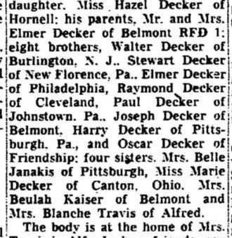 Charles A. Decker of Alfred, NY son of Elmer dies 1950