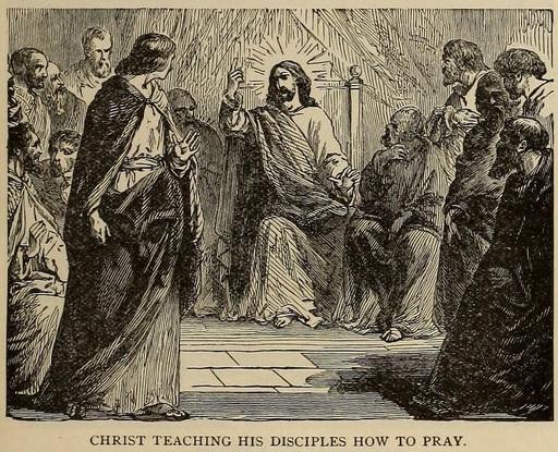 Jesus teaching his disciples how to pray