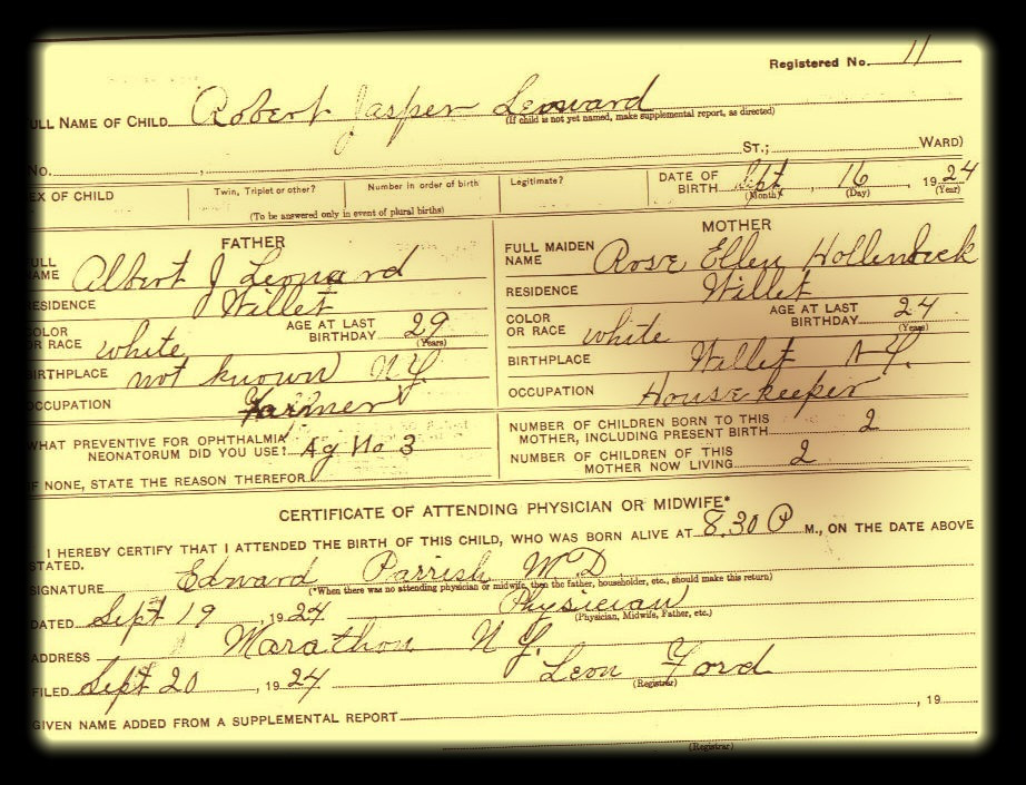 Robert J Leonard birth certificate